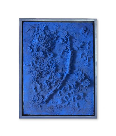 Blue Plaster Rectangle #1, 2017 Plaster and Tuareg indigo on wood panel 102 x 77 cm / 40.1 x 30.3 in