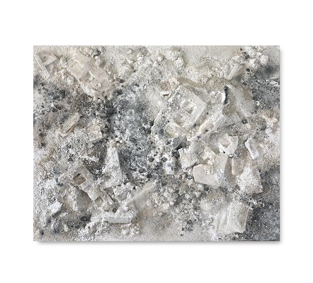 Grey White Rectangle #1, 2017 Acrylic paint, found objects, salt, ashes and Kohl on wood panel 150 x 190 cm / 59.1 x 74.8 in