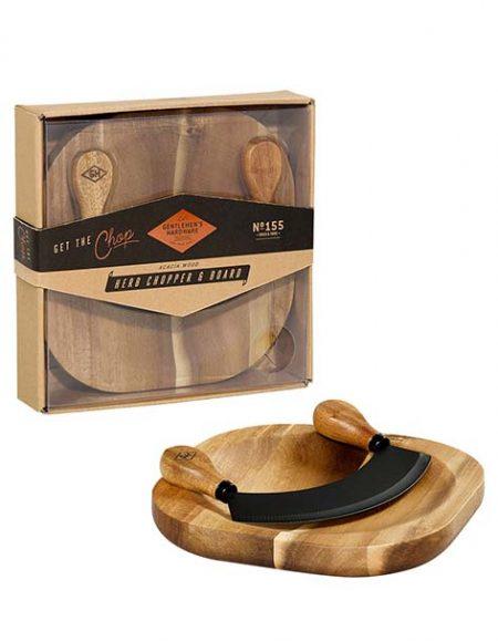 Planche à découper Gentlemen's Hardware Planche en bois d'acacia concave et couteau à herbes. PPC: 24 €