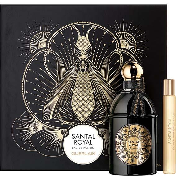 Dans un somptueux coffret imaginé par l'artiste française Giselle Balosso Bardin la Maison Guerlain rassemble son flacon 125 ml de l'Eau de parfum Santal Royal ainsi qu'un judicieux format 10ml à glisser dans son sac. PPC: 154 €
