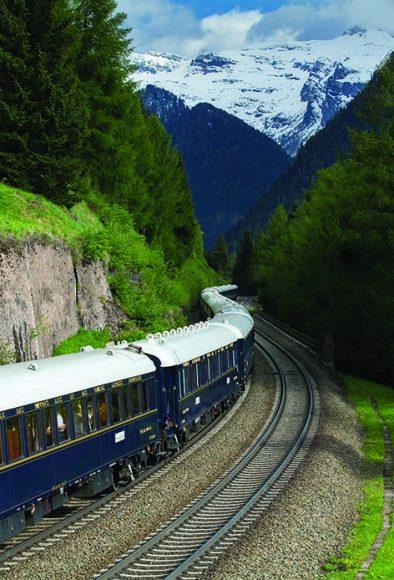 the Venice Simplon Orient Express passing through the Brenner Pass, Austria