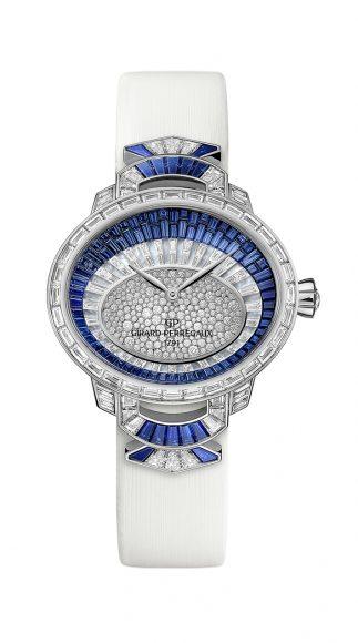 Girard Perregaux Cat's Eye Haute Joaillerie.  Chaque modèle est dessiné, réalisé et serti à la main selon les techniques complexes du 'serti invisible' et du 'serti neige' par les maîtres horlogers et sertisseurs. Pas moins de 316 diamants et 94 saphirs bleus ont été nécessaires à la réalisation de cette pièce d'exception qui peut se décliner sur commande.