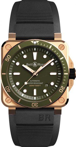 Bell&Ross BR 03-92 Diver Green Bronze. Voici une nouveauté de la collection Diver de la marque, qui n'a pas fini de faire parler d'elle. Avec son look à la fois rétro et militaire, ce garde-temps arbore un boitier en bronze et un  cadran vert olive et offre une visibilité parfaite de jour comme de nuit. Etanche à 300m