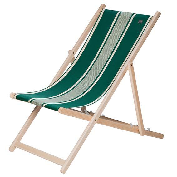 Transat Yvonne Vert Tissage de Luz Le transat indispensable pour les vacances en toile  100% coton déparlant et structure en hêtre. PPC: 90,50€