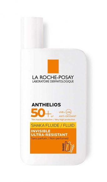 La Roche-Posay Anthelios Shaka Fluide SPF 50+. Une formule minimaliste et haute protection à la fois invisible et légère sans effet gras ni collant qui forme sur la peau un film protecteur. PPC: 14,90 €