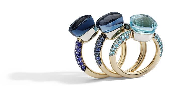 Bagues Pomellato Nudo Deep Blue 2019. Un dégradé précieux de bleus de la Topaze bleu ciel et Agate à la Topaze Bleu London et Lapis en passant par la Topaze Bleu London et Turquoise.