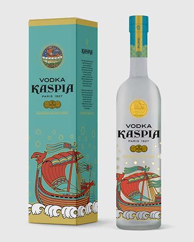 Vodka Kaspia par Caviar Kaspia. La Maison habille sa bouteille de vodka de la même illustration qui orne ses boites de caviar pour un flacon à la hauteur du nectar. PPC: 58 €.