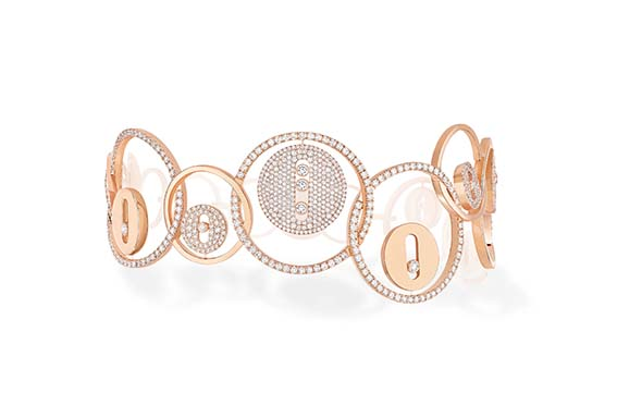 Messika Bracelet Lucky Move Bulles En or rose et diamants blancs.