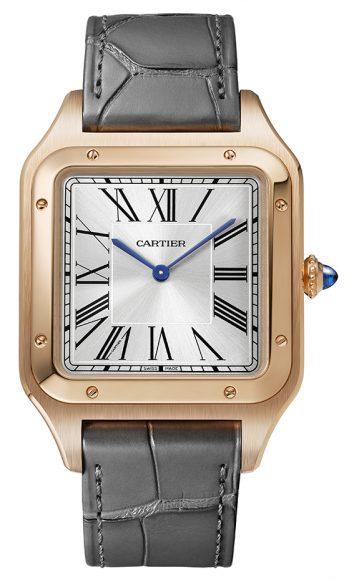 La maison horlogère dévoile une version XL de son mythique garde temps Santos-Dumont. Louis Cartier a créé en 1904 ce modèle tout spécialement pour son ami aventurier Alberto  Santos-Dumont afin que ce dernier puisse lire l'heure en plein vol. Il s'agit d'ailleurs de la première montre-bracelet.