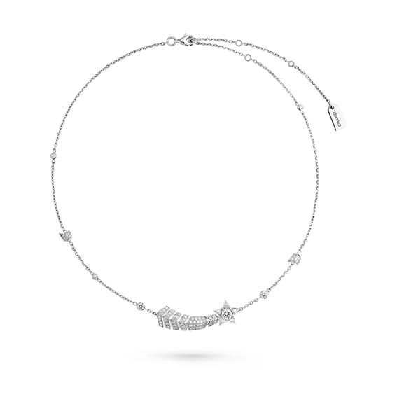 Collier transformable Comète de la collection  Les Icônes de 1932 En or blanc 18 carats et diamants. Le pendentif comète peut être détaché du collier et porté comme une broche.