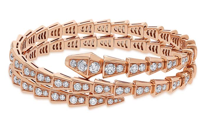 Bracelet Scaglie Serpenti Bracelet deux tours Serpenti Viper en or rose avec pavé diamants. PPC : 43 000 €