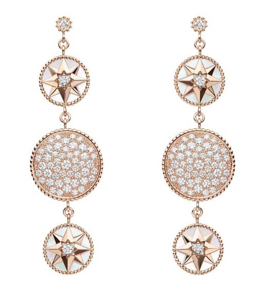 Boucles d'Oreilles Rose des Vents En or rose, diamants, et nacre